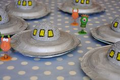 homemade flying saucers-  with that spray frosting in metallic colors for cupcakes.