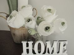 8 pcs White Green Crepe paper flowers Wedding by moniaflowers