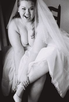 Thrilled bride in black and white #fat #bbw #curvy #fullfigured #chubby #plussize #thick #beautiful #sexy #romantic #love