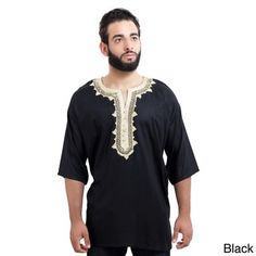 Shop for Handmade Moroccan Breathable Fiber Cotton Embroidery Men's Ethnic Caftan Tunic (Morocco). Get free delivery On EVERYTHING* Overstock - Your Online Men's Clothing Shop! Muslim Men Clothing, African Clothing For Men, African Shirts, Mens Tunic, Tunic Shirt, Tunic Tops, Morrocan Fashion, Moroccan Caftan, Collar Designs