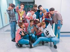 Wanna One at Show Champion backstage
