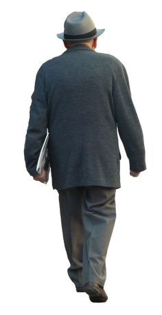 Well dressed elderly man walking away from camera. One of a number of free cutout people available from easyentourage.com