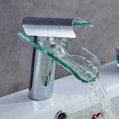Bathroom Sink Faucet Modern Design Glass Spout Waterfall High Quality Brass Faucet (Chrome Finish) – USD $ 62.99