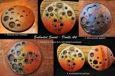 Enchanted Sunset_doodle art | Page McNall of Page's Creations shows how she created this disk and then used embossing powder, sanding, and wax to get the final look. Interesting technique.