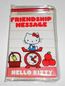 I HAD THIS!!!  Vintage Sanrio Hello Kitty Friendship Message Stationery Set with Pencil 1976 | eBay