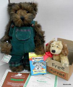 Ashton Drake Benjamin Teddy Bear 12 inches with Plush Pet Puppy Friend 1995 Limited Edition Certificate & Original Box