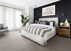Home Interior Colour bedroom with black panel wallpaper black feature wall bohemian style Dream Bedroom, Home Decor Bedroom, Modern Bedroom, Black Master Bedroom, Bedroom Ideas, Black Bedrooms, Contemporary Bedroom, Bedrooms With Accent Walls, Bedroom With White Walls