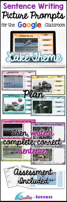Can your students write complete correct sentences? With this digital resource, students type a sentence while responding to LAKE picture prompts. A planning prewrite page is provided before students write their complete sentence. Use Google Slides in your Google classroom. Works well for elementary students and ELLs (English Language Learners).