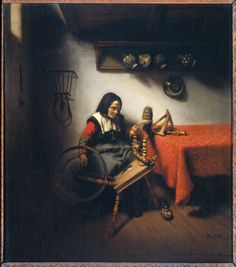 Nicolaes Maes, The Spinster. 1660