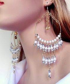 Large beaded chandelier earrings  silver plated  by NezDesigns, $20.00