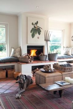 Love the window seats, pitch fork and wooden bench Decor, Farm Style, Living Area, Farm Style House, Family Room, South African Homes, Home Decor, Outdoor Living Areas, Built In Braai