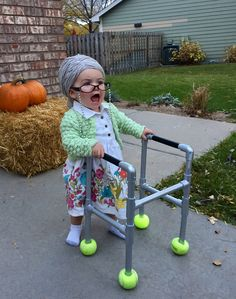 halloween costumes for girls 15 Super Adorable Toddler Girl Halloween Costumes Youll Love Little Girl Halloween Costumes, Halloween Kids, Baby Old Lady Costume, Baby Grandma Costume, Toddler Girl Costumes, Granny Halloween Costume, Costume Zombie, Costume For Girls, Homemade Kids Costumes