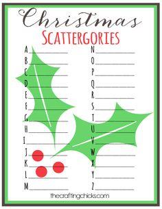 Christmas scattergories printable