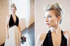 vintage black and white dress  Photo by Jeff Brummett Visuals  http://greenweddingshoes.com/modern-industrial-wedding-inspiration/