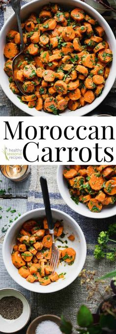Moroccan carrots These Moroccan Carrots are a favorite healthy and flavorful side dish. They are loaded with garlic, vinegar and cumin! They are a great make-ahead side dish for summertime potlucks, barbecues and parties because you can serve them room te Vegan Side Dishes, Dinner Side Dishes, Side Dish Recipes, Food Dishes, Moroccan Side Dishes, Barbecue Side Dishes, Food Food, Moroccan Carrots, Moroccan Vegetables