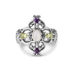 Exquisite in color and graceful in its filigree design this multi gemstone flower ring has a charm all its own. Faceted gemstones of amethyst and peridot are prong set into the sterling silver filigree design and a white mother of pearl glimmers at its center. A ring with striking color that brightens your day!