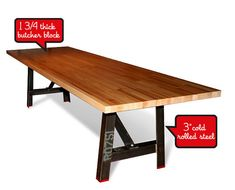 8' Industrial dining table Butcher block top by MaruModern on Etsy