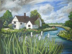 House with River Original Painting Landscape Oil on Stretched canvas 18 inch x 24 inch $75.00