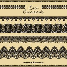 Hand draw lace ornaments set Free Vector