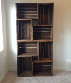 Incredible ideas rustic furniture 120 cheap and easy diy home decor prudent penny pincher crate bookshelf wood crates sandpaper stain l bracket outdoor Diy Home Decor Rustic, Homemade Home Decor, Unique Home Decor, Cheap Home Decor, Creative Decor, Creative Ideas, Cheap Bedroom Ideas, Homemade House Decorations, Cheap Furniture