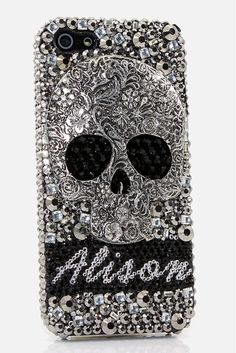 Large Metallic Skull Personalized Name & Initials bling case design for iPhone 5, 5S, 5c, Samsung Galaxy s3, Galaxy s4, Galaxy s5, Galaxy s6 edge, Samsung Galaxy Note 2, Note 3, Note 4, Note 5, Sony xPeria, LG, HTC One, BlackBerry, Nokia Lumia and for most phones/devices - Grab this phone case cover at http://luxaddiction.com/collections/personallized-designs/products/large-metallic-skull-personalized-name-initials-design-style-pn_1057