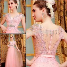 Find More Evening Dresses Information about 2014  New Charming Pink V Neck See Through Prom Dresses Evening Formal Dress A Line Appliques Lace Short Cap Sleeves,High Quality Evening Dresses from Sao Tome Garments Co., Ltd. on Aliexpress.com