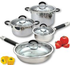Cook N Home 8 Piece Stainless Cookware Set Encapsulated Bottom ** Click on the image for additional details.