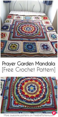 Prayer Garden Mandala [Free Crochet Pattern] Irresistible Crochet a Doll Ideas. Radiant Crochet a Doll Ideas. Motif Mandala Crochet, Crochet Motifs, Granny Square Crochet Pattern, Crochet Squares, Free Crochet, Mandala Throw, Knit Crochet, Manta Mandala