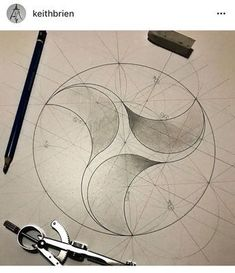 Triangular arcs made within a circle. A beautiful example of geometry and art, and propeller design. Geometry Pattern, Pattern Art, Geometric Drawing, Geometric Shapes, Sacred Geometry Art, Circle Geometry, Geometric Construction, Math Art, Product Design