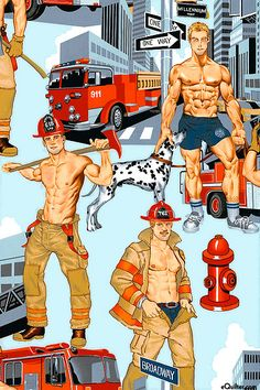 Ready For Action - Light Blue Male Pinup, Alexander Henry, Gay Art, Male Form, Good Looking Men, Textures Patterns, Erotica, Firefighter, Illustrators