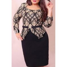 Wholesale Trendy Scoop Neck 3/4 Sleeve Printed Slimming Plus Size Women's Dress Only $6.01 Drop Shipping | TrendsGal.com