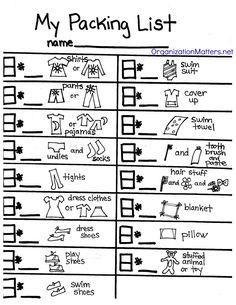 kid packing list