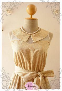 Peter Pan Collar Dress Earth Tone Light Brown with Petite Leaf Dress Illusion Dress Bridesmaid Dress Romantic Summer Dress -Size S, M, L on Etsy, ฿1,870.75