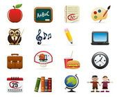 School Icon Set — Ilustração de Stock