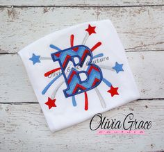 4th of July Shirt Patriotic Monogram Letter by OliviaGraceCouture, $25.00