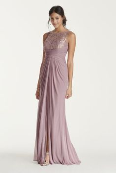 Simply elegant in design, your bridal party will look exceptional in this long mesh dress!  Sleeveless bodice features ultra-feminine corded lace illusion sweetheart neckline and illusion v back.  Long mesh skirt with ruched waist and front leg slit.  Fully lined. Back zip. Lace-52% Nylon/48% Rayon. Mesh-100% Polyester. Dry clean only.  Available in Extra Length sizes as Style 4XLF15749. To protect your dress, try our Non Woven Garment Bag.