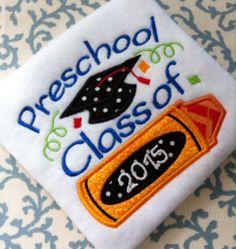 Preschool Graduation Crayon Machine Embroidery Design Digital Applique Instant Download