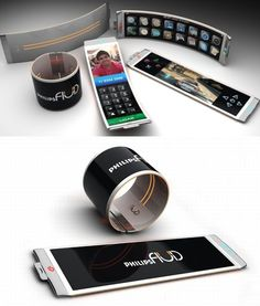 Philips Fluid flexible smartphone design concept. A incredible concept of a phone that takes bendy phones to a new level, would it be possible to create a phone that could turn into any shape...