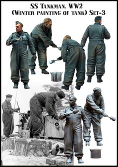 SS Tank Crew Painting winter camo. 1/35 scale resin figures from Evolution Miniatures. Click on the picture for more details