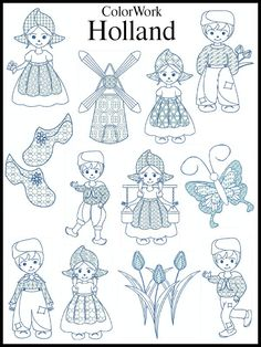 HOLLAND Machine Embroidery Designs set of 12, 2 SIZES
