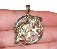 Lisa Parker Bronze Raven/Crow Pentagram/Star Pendant Wiccan/Pagan/Gothic/Witch