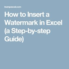 How to Insert a Watermark in Excel (a Step-by-step Guide)