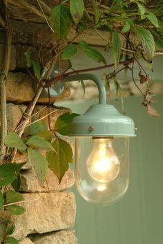 Barn Lamp In Shutter Blue - Exterior Garden Wall Lighting Solution