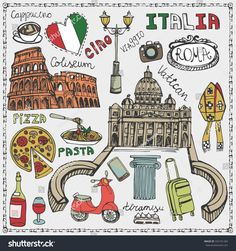 Italy famous Rome landmark,lettering,food set.Vintage Hand drawn doodle art sketchy.Italian Rome,travel,hello.Coliseum,Vatican,icon symbols.Travel background.Isolated colored Vector