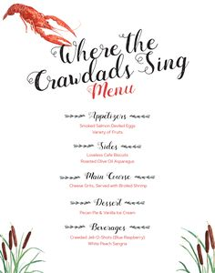 Where the crawdads sing book club menu
