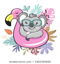 Beautiful koala on an inflatable flamingo and tropical leaves on a white background Balloon Illustration, Cute Illustration, Cute Unicorn, Baby Otters, Cute Baby Animals, Wild Animals, Design Girl, Illustrations, Animal Photography