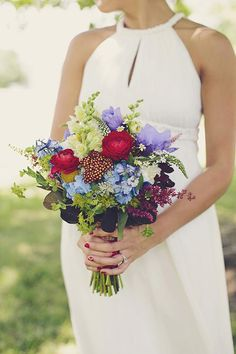 Hydrangeas, ranunculuses, and anemones in an Americana-themed color palette | Brides.com