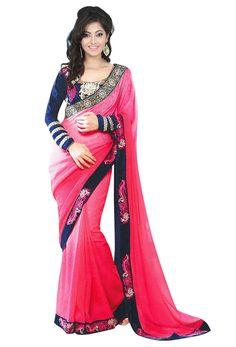 #Pink #Crepe #Jacquard #Designer #Saree
