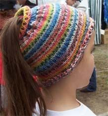 pattern for a ponytail hat- so cute!