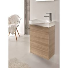 Eviva Action Walnut 18-inch Wall Mount Modern Bathroom Vanity With White Integrated Porcelain Sink